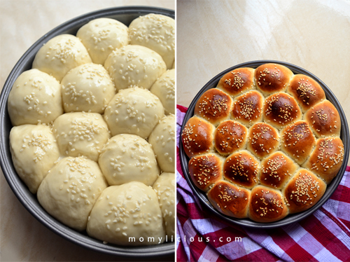 Adonan Bee Hives Bread [before & after baked]