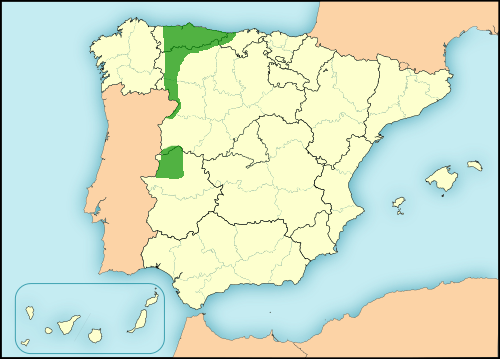 Astur-Leonese language in Spain map