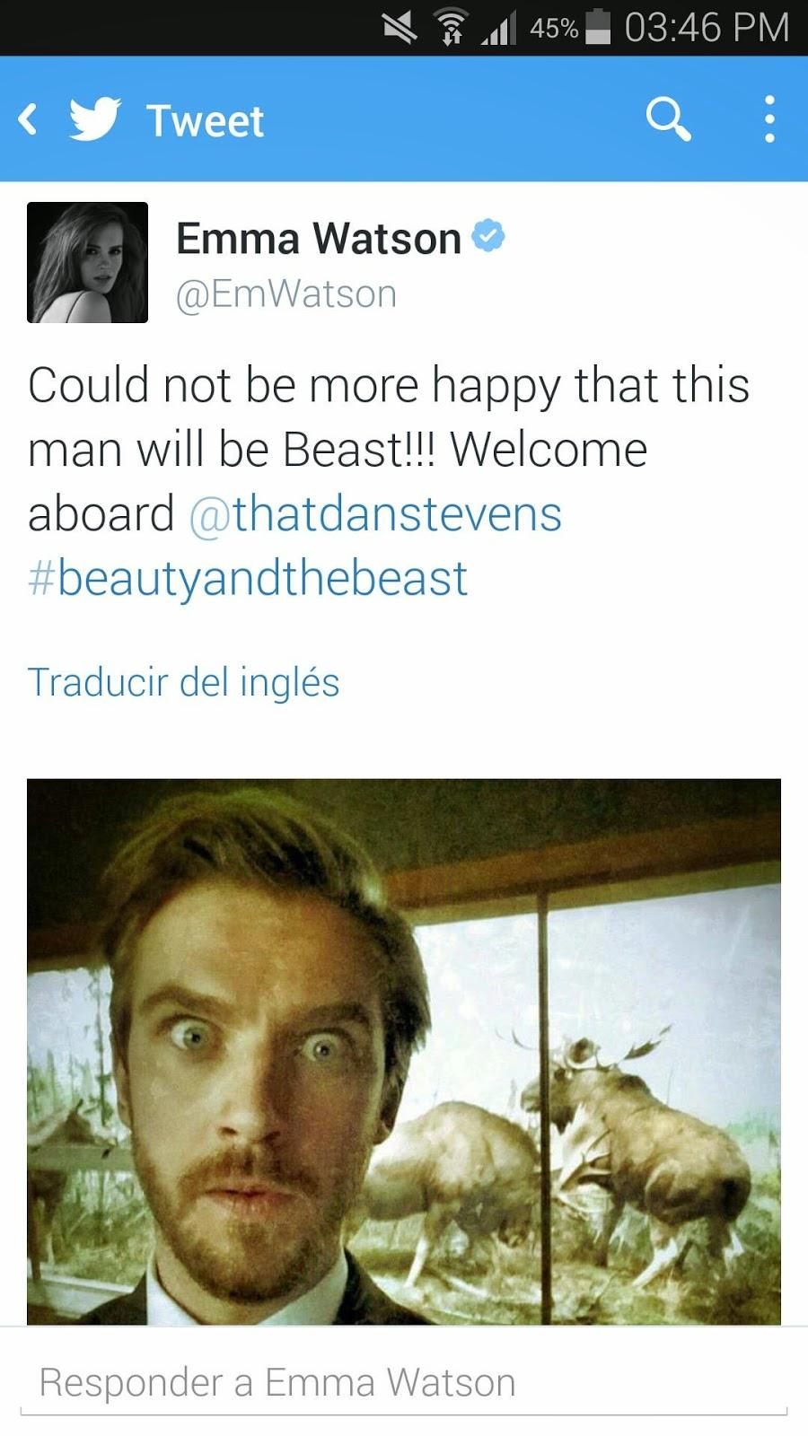 Tweet anunciando a Dan Stevens como la Bestia