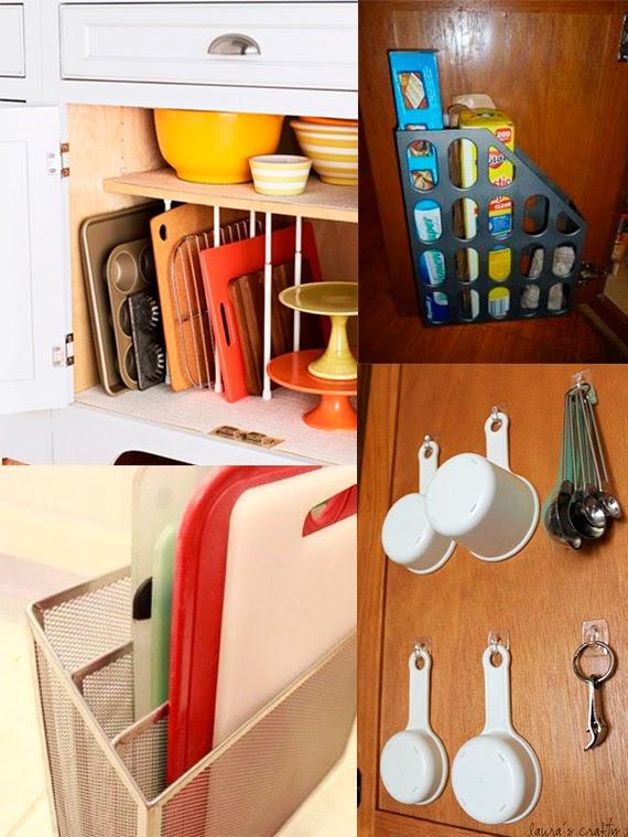 como organizar a cozinha - armários bem arrumados - armário de cozinha - dicas de organização - tábuas de corte