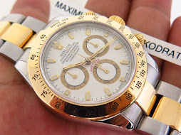 ROLEX DAYTONA WHITE DIAL TWO TONE YELLOW GOLD - ROLEX 116523 - SERI F YEAR 2004 - FULLSET BOX PAPER