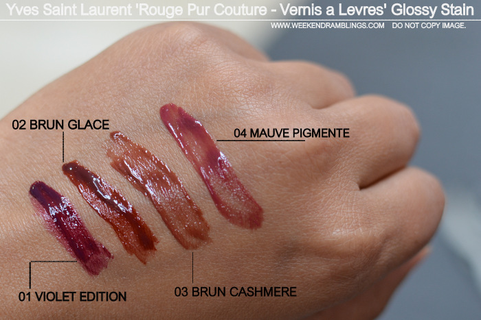Yves Saint Laurent Rouge Pur Couture Vernis a Levres Glossy Stain Swatches Indian Darker Skin Makeup Beauty Blog 1 Violet Edition 2 Brun Glace 3 Cashmere 4 Mauve Pigmente