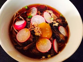 Soba Soup w/ Maitake Mushrooms in Soy Broth