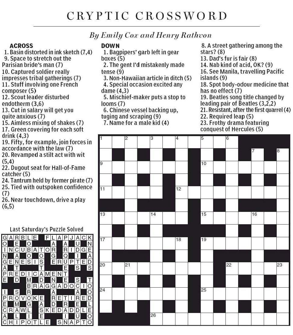 National post cryptic crossword forum august 2012 for Soil 8 letters crossword clue