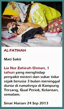 Bayi sukar tidur meninggal dunia