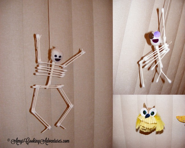 both ideas came from this months issue of disney family fun magazine we made skeletons from qtips and cotton swabs and owls from toilet paper rolls and - Family Fun Magazine Halloween Crafts