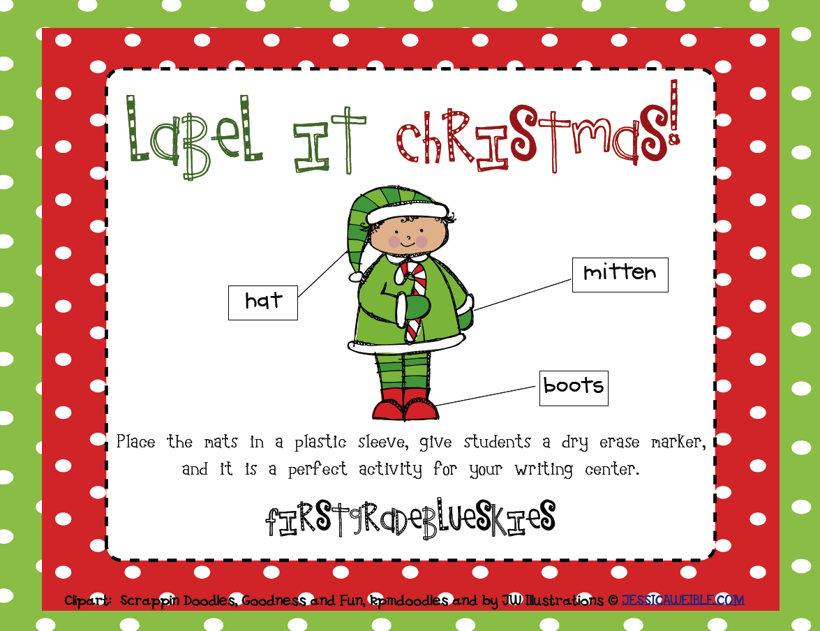 Label It Christmas! and a freebie! - First Grade Blue Skies