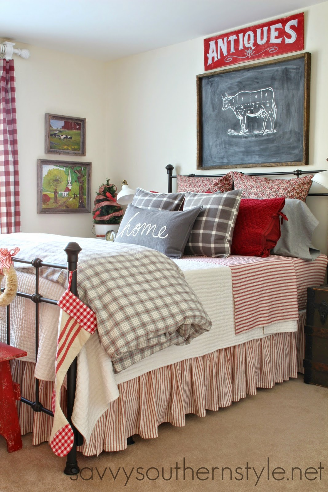 Savvy southern style farmhouse guest room christmas for Farmhouse style bed
