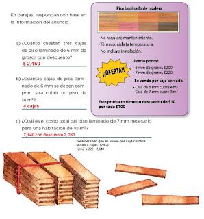Respuestas Apoyo Primaria Desafíos matemáticos 4to grado Bloque I lección 23 Piso laminado de madera