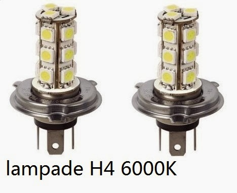 Lampade h4 18 led smd bianche xeno 6000k luce posizione for Lampadine h7 led