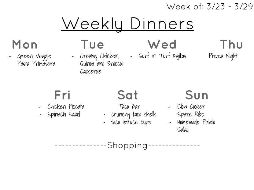 Weekly Dinner Plan March 23 - March 29, a printable menu