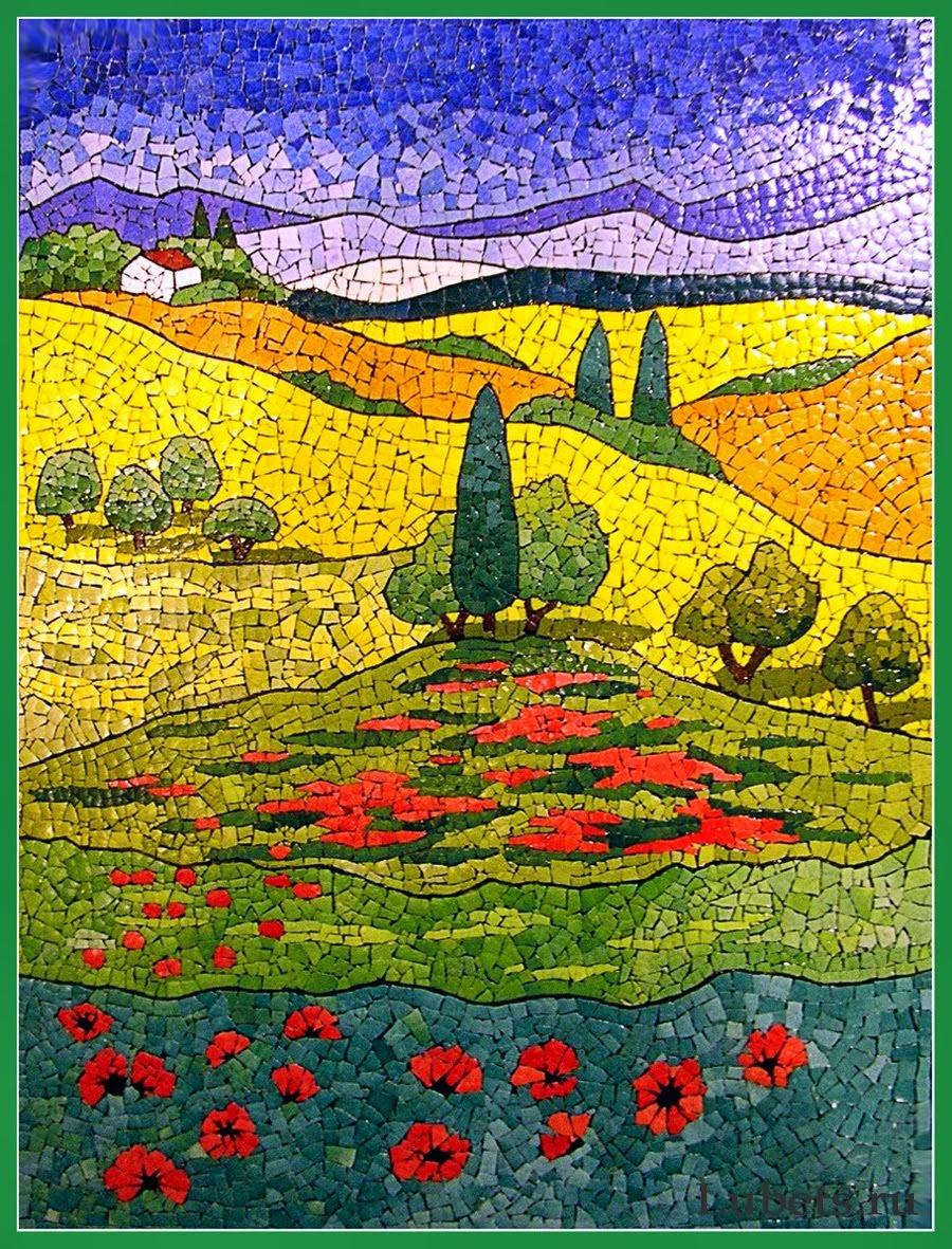 Beautiful eggshell mosaic designs by lyubov meshakina for Mosaic landscape design
