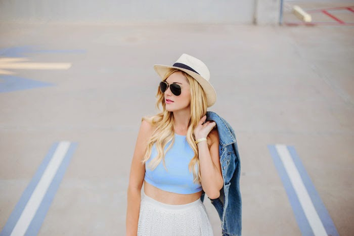 O'Neill, White, Panama, Hat, Ray-Ban, Aviator, Original, Sunglasses, Elizabeth and James, Blue, Crop Top, A&F, Denim, Jean, Jacket, White, Tibi, Eyelet, Midi, Skirt, J.Crew, Etta, Studded, Floral, Pumps, Heels, Gorjana Griffin, Gold, Wrist, Hand Chain, Ring, Bracelet, Summer, Caitlin Lindquist, A Little Dash of Darling, Fashion Blog, Arizona, Scottsdale, Phoenix, Blogger, Beauty, Fashion, Lifestyle, Kylee Patterson, Photographer