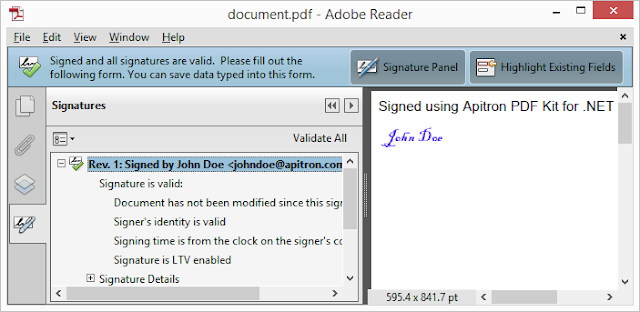 Pic. 1 Signing PDF using digital signature, fixed layout API