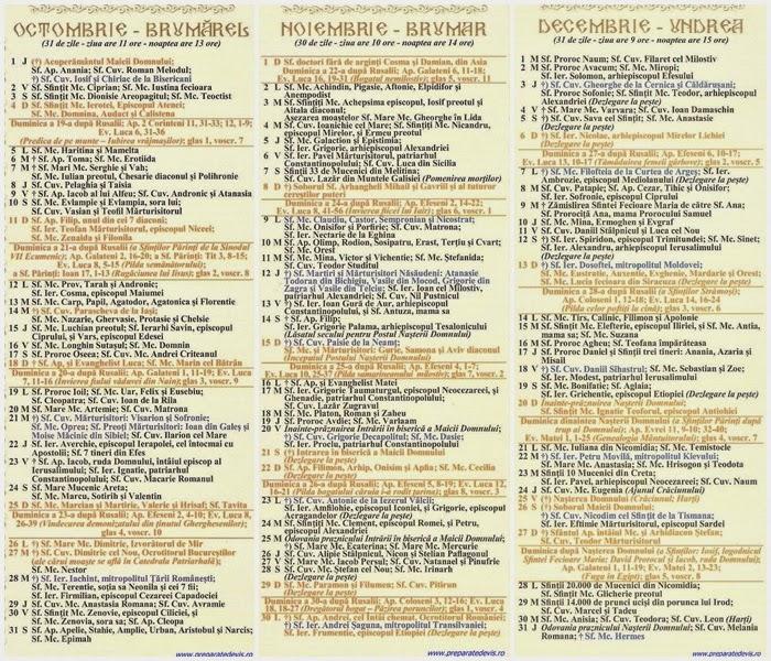 calendar, calendar ortodox in luna octombrie noiembrie si decembrie ...