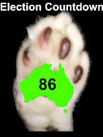 Image: Mr Bumpy's paw, with outline map of Australia on it.  Text: Election Countdown 86.