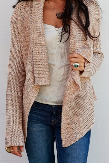 Light brown oversize cardigan and white blouse combination for fall