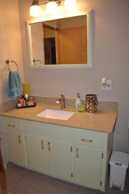 bathroom, vanity, redo, reno, recycled glass counter, bathroom vanity, bathroom counter, home depot, menards, knobs, tile, lowes, flooring, homelux, underlayment