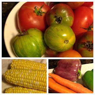 tomatoes, corn, carrots, peppers