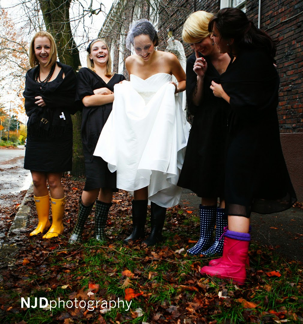 Rubber boots on the bride and bridesmaids - Kent Buttars, Seattle Wedding Officiant