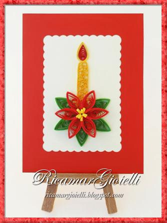 Quilling card con stella di Natale e candela