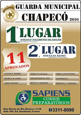 Aprovados - guarda municipal Chapecó