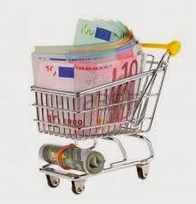 Carro de la compra con dinero. Haciendo referencia a lo recaudado con las inscripciones en los torneos de pádel
