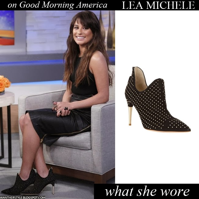 Lea Michele in black studded ankle boots by Jerome C. Rousseau Want Her Style