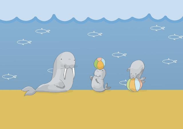 disegno di trichechi, famiglia al mare