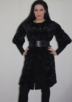 black oval mink knee length fur coat front side