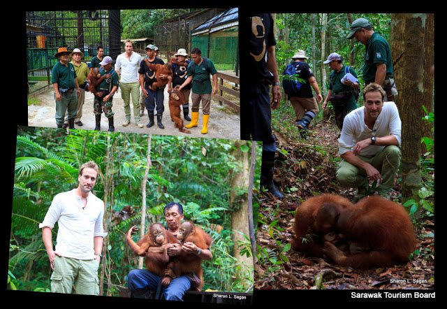 Collage of behind-the-scene shoot at Matang Wildlife Center