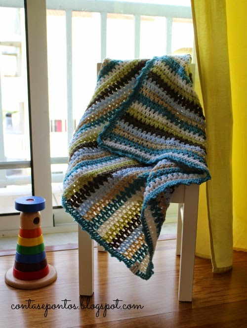 manta de bebé, crochet, granny stripes