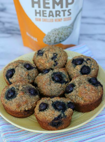 Healthy Blueberry Hemp and Flax Muffins