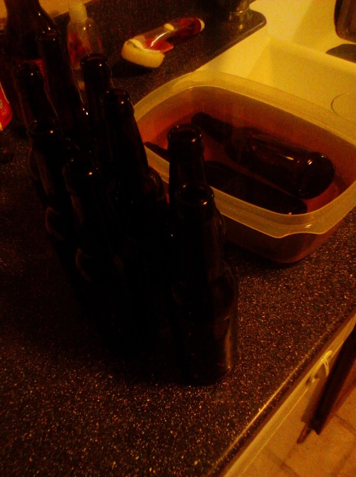 Sanitizing beer bottles