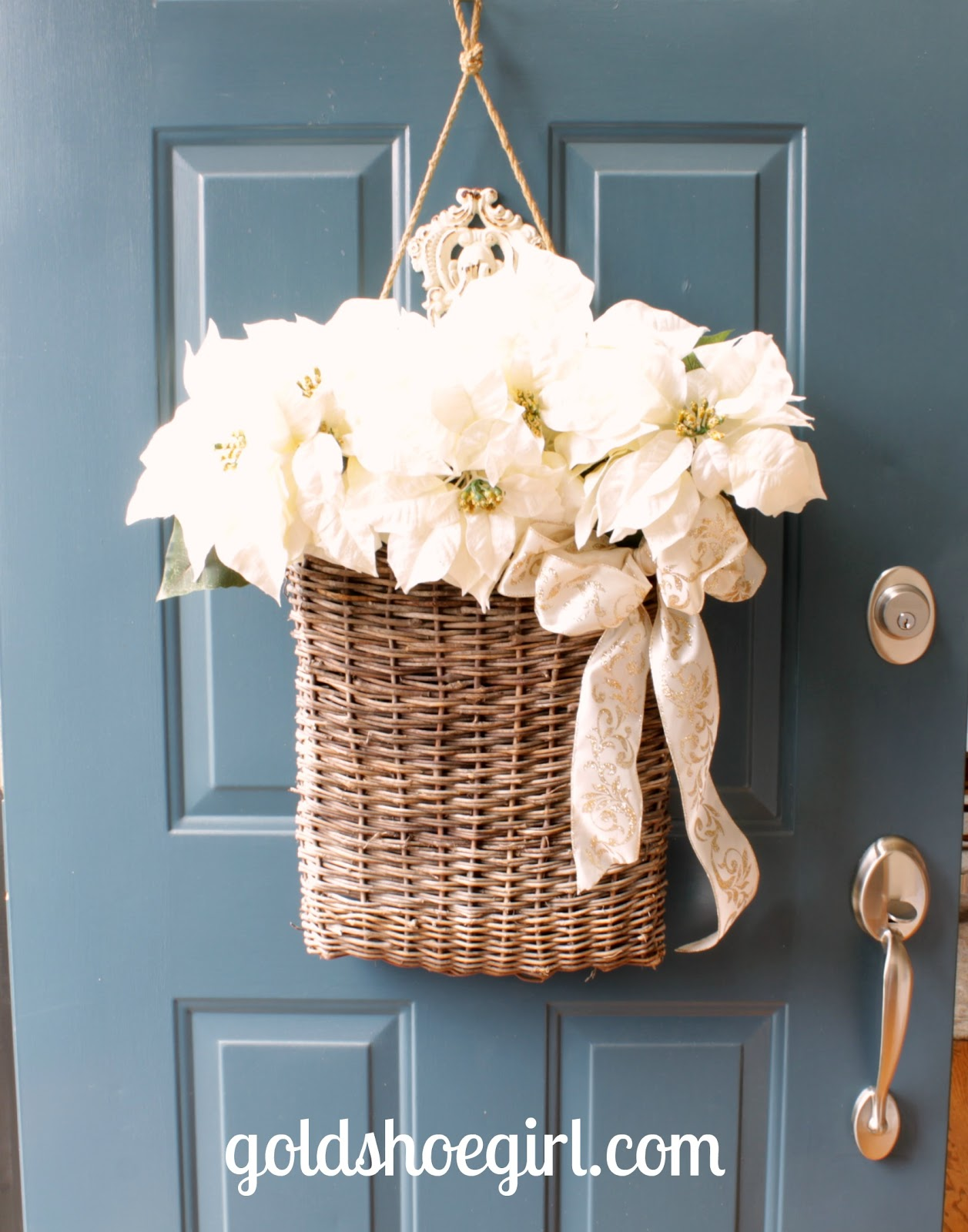 We already had the basket so the flowers and bow ran less than $15 at Joann\u0027s. Not too bad especially when all the wreathes I liked were 3 times that much. & Gold Shoe Girl: Winter Holiday Front Door Basket