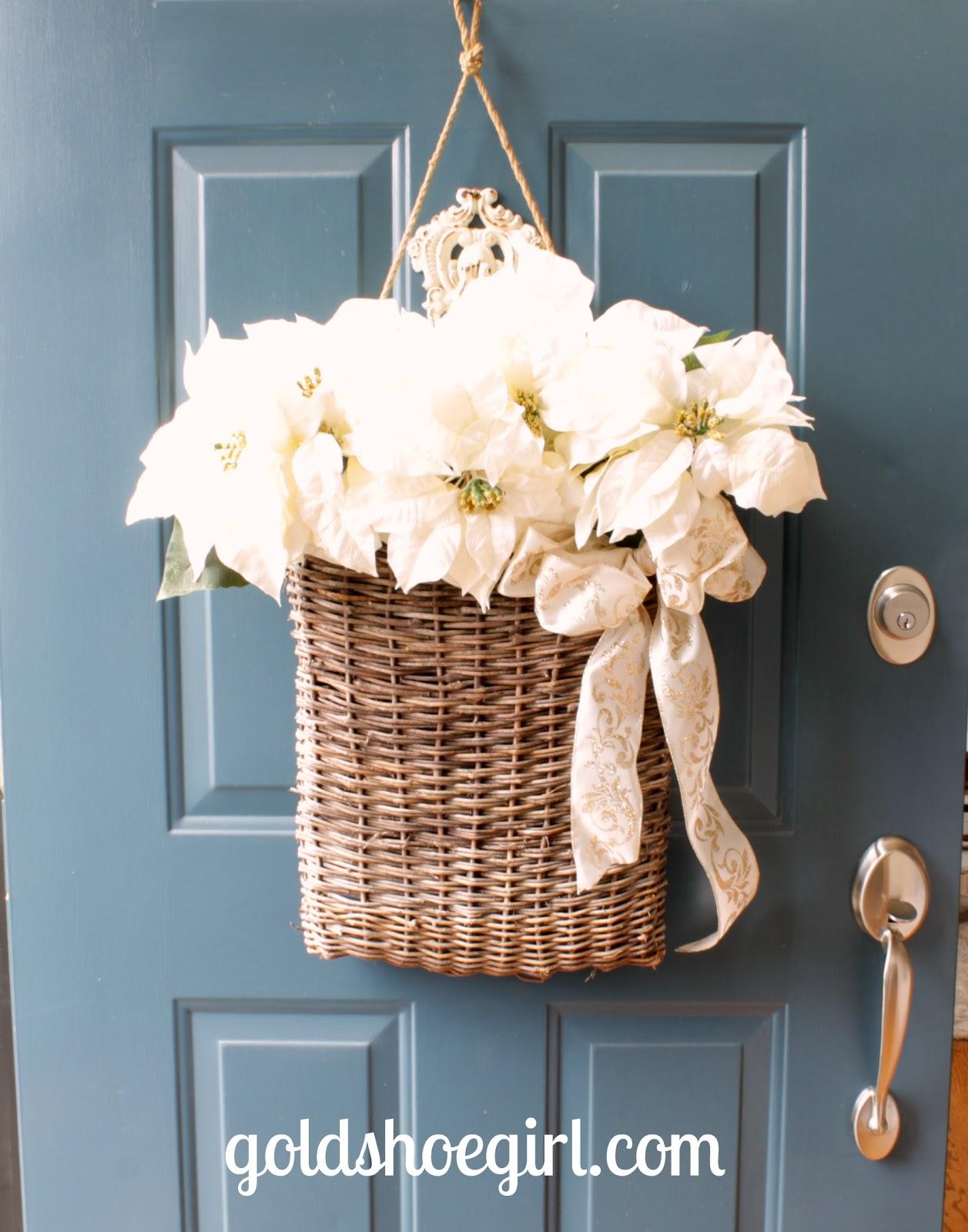 Gold Shoe Girl Winter Holiday Front Door Basket