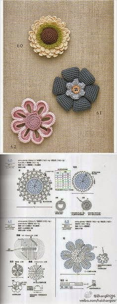 Patrones de 3 flores muy especiales para tejer al crochet