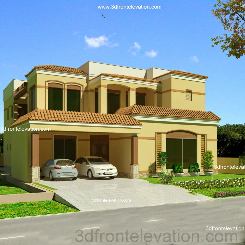 3d front valencia 1 2 kanal house in for Home garden design in pakistan