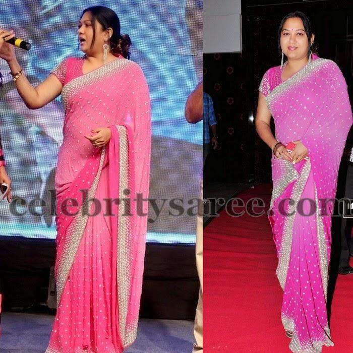 Hema Pink Georgette Designer Saree