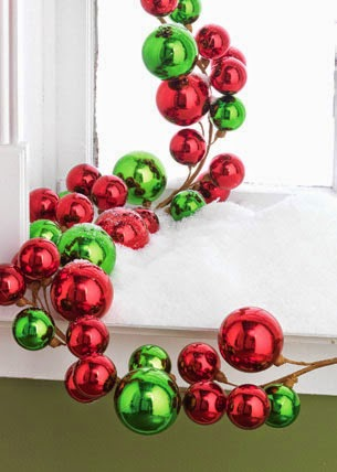 RAZ Red Green Shiny Ball Garland at Trendy Tree