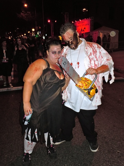 West Hollywood Halloween Chainsaw couple