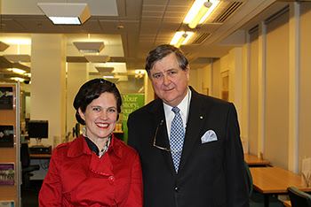Annabel Crabb & Director-General of ASIO David Irvine, on location at the National Archives of Australia.