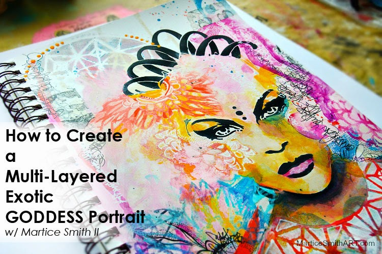 How to create a multi-layered #portrait in #artjournal; TUTORIAL using #StencilGirl #stencils