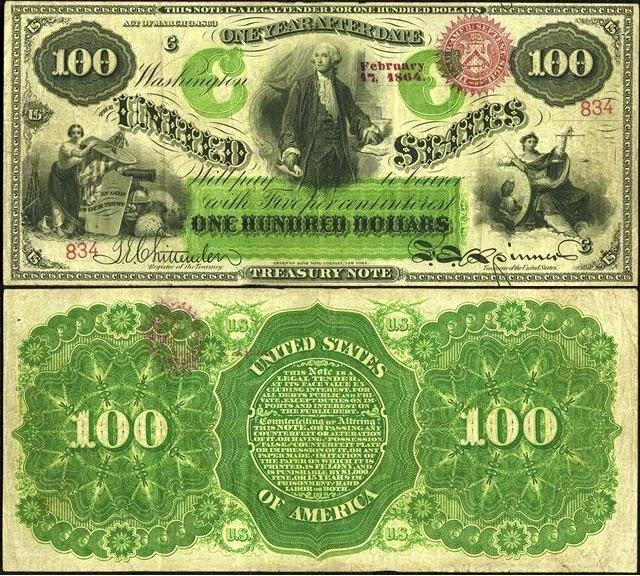 100 долларов США, 1863 год с портретом Вашингтона (выпущен северянами во время гражданской войны)