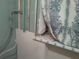 крепление ВГЛ к стене на кухне на деревянный каркас
