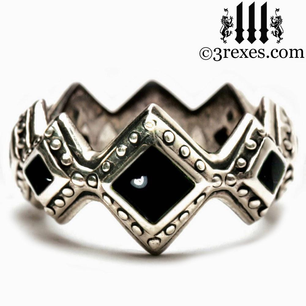 Silver Royal Gothic Wedding Engagement Band Black Onyx