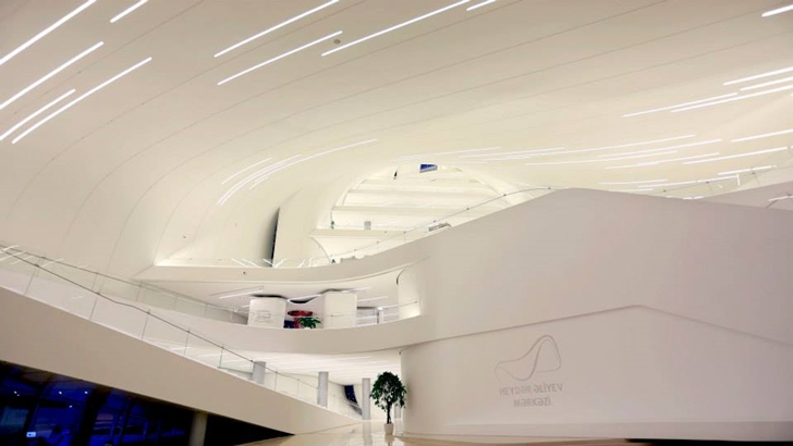 Interior balconies in Heydar Aliyev Cultural Center by Zaha Hadid Architects