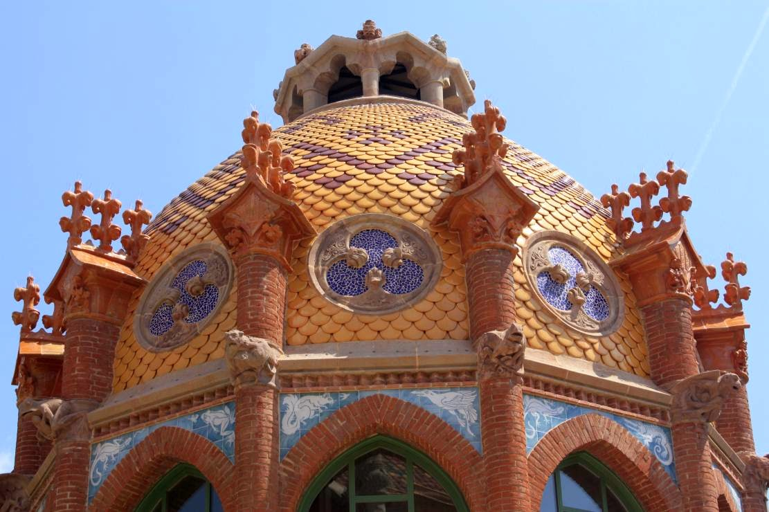 Modernist dome of Hospital de Sant Pau in Barcelona
