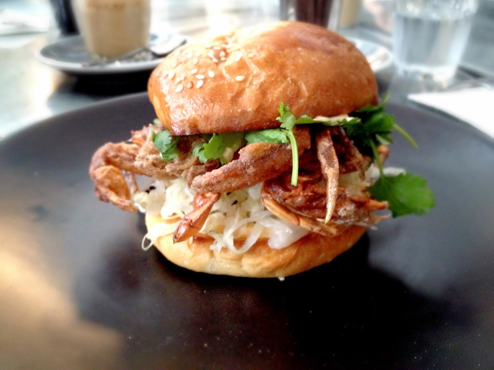 and this is the famous soft shell crab burger constructed