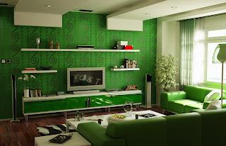 hiasan+ruang+tamu+warna+hijau Warna Hijau Ruang Keluarga